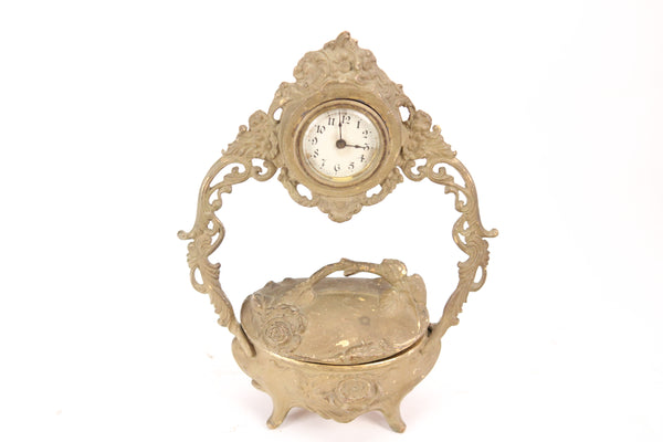 Antique Gold Brass Colored Metal Art Nouveau Clock with Keepsake Box