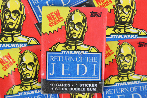 Topps Star Wars Return of the Jedi Series 2 Collectible Trading Cards, One Wax Pack, C-3PO Wrapper, 1983
