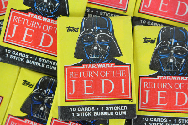 Topps Star Wars Return of the Jedi Collectible Trading Cards, One Wax Pack, Darth Vader Wrapper, 1983
