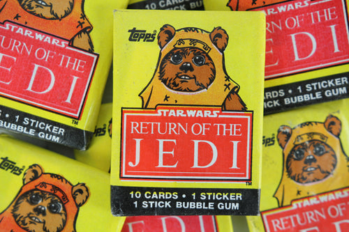 Topps Star Wars Return of the Jedi Collectible Trading Cards, One Wax Pack, Ewok Wrapper, 1983