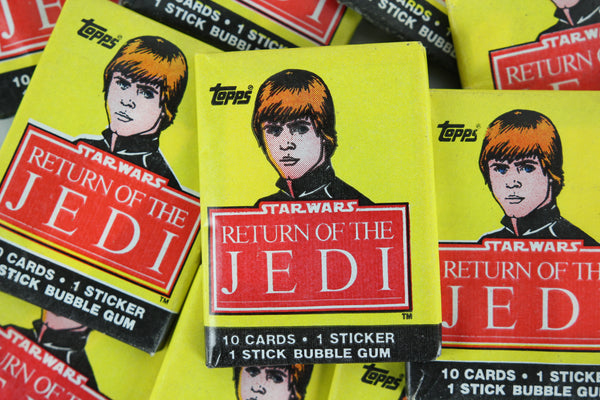 Topps Star Wars Return of the Jedi Collectible Trading Cards, One Wax Pack, Luke Skywalker Wrapper, 1983