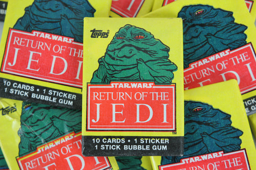 Topps Star Wars Return of the Jedi Collectible Trading Cards, One Wax Pack, Jaba the Hutt Wrapper, 1983