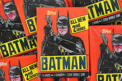 Topps Batman Collectible Trading Cards, 2nd Series, One Wax Pack, Batman Wrapper, 1989