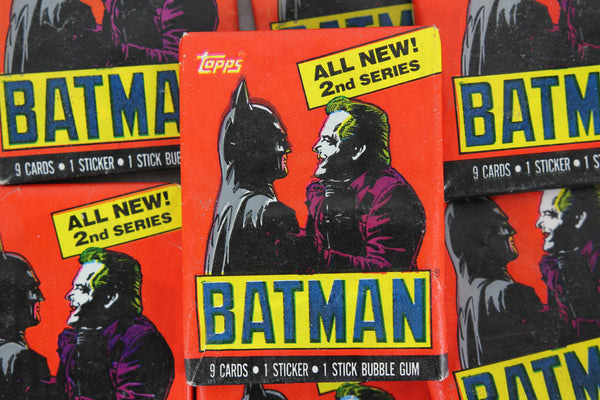 Topps Batman Collectible Trading Cards, 2nd Series, One Wax Pack, Batman and Joker Wrapper, 1989