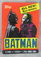 Load image into Gallery viewer, Topps Batman Collectible Trading Cards, 2nd Series, One Wax Pack, Batman and Joker Wrapper, 1989