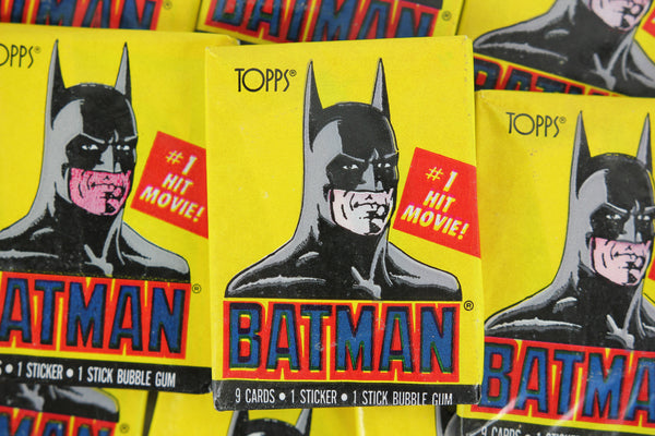 Topps Batman Collectible Trading Cards, 1st Series, One Wax Pack, Batman Wrapper, 1989