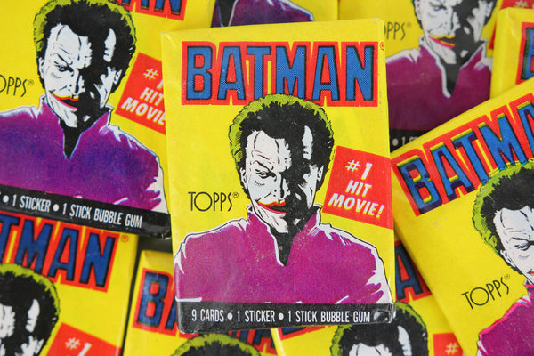 Topps Batman Collectible Trading Cards, 1st Series, One Wax Pack, Joker Wrapper, 1989