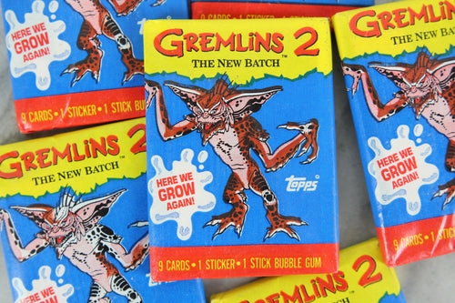 Topps Gremlins 2: The New Batch Collectible Trading Cards, One Wax Pack, Stripe Wrapper, 1990 (Free Shipping)