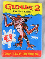Topps Gremlins 2: The New Batch Collectible Trading Cards, One Wax Pack, Stripe Wrapper, 1990