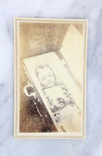 Load image into Gallery viewer, Postmortem Carte de Visite (CDV) Photograph of a Young Child in Coffin