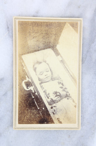 Postmortem Carte de Visite (CDV) Photograph of a Young Child in Coffin