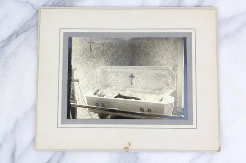 Postmortem Matted Photograph of Little Boy in Coffin with Crucifix