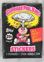 Topps Garbage Pail Kids 5th Series Collectible Trading Card Stickers, One Wax Pack, 1986