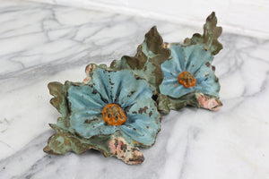 Figural Flowers Handpainted Cast Iron Bookends