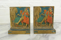 Art Deco Handpainted Figural Bookends by Pompeian Bronze Co., 1921