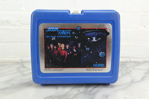 Star Trek The Next Generation Thermos Brand Blue Plastic Lunchbox, 1988