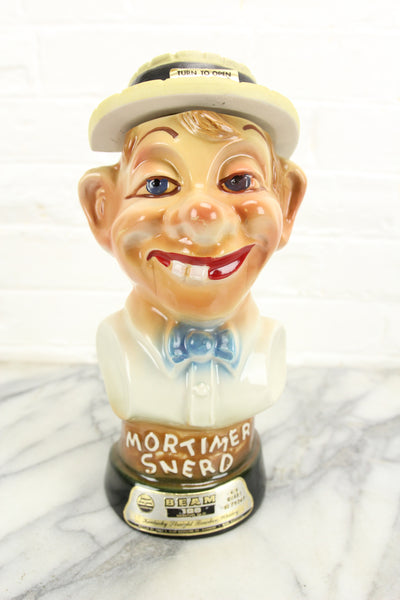 Mortimer Snerd Ventriloquist Dummy Jim Beam Whiskey Decanter, 1976