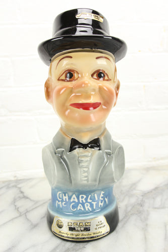 Charlie McCarthy Ventriloquist Dummy Jim Beam Whiskey Decanter, 1976