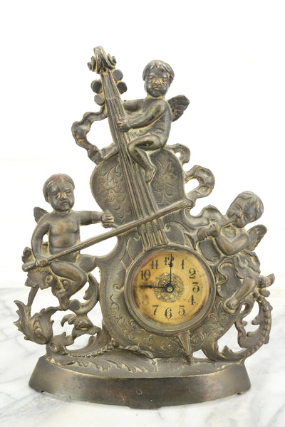 Spelter Clock with Cherubs on a Violin, Made in U.S.A.