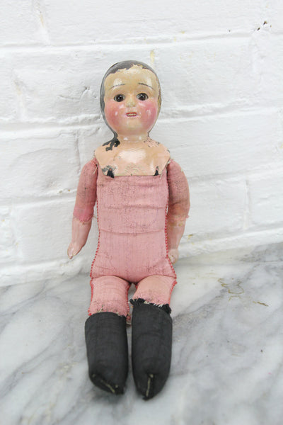 German Minerva Tin Doll Head on Hand Sewn Body, 12""