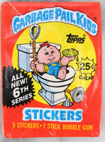 Topps Garbage Pail Kids 6th Series Collectible Trading Card Stickers, One Wax Pack, 1986