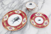 Craftsman China Coronation Trio with Insect Design, Made in Japan