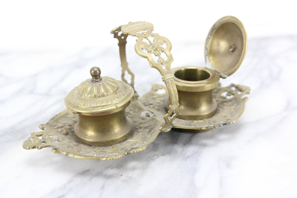Ornate Brass Double Inkwell