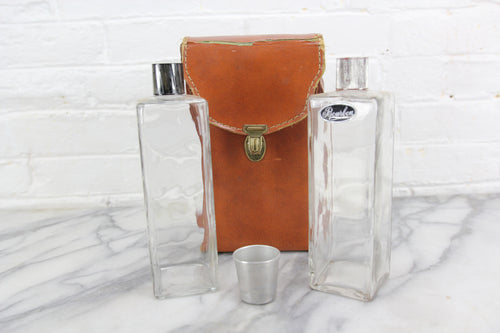 Travel-sized Mini-Bar in Leather Case with Two Liquor Bottles and Shot Glass