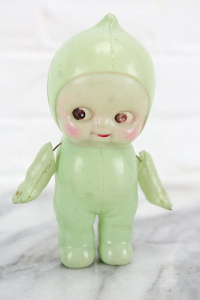 Green Celluloid Kewpie Doll Rattle, Made in Japan, 6""