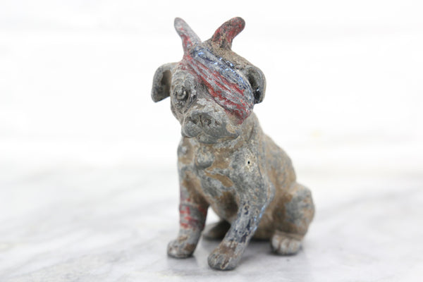 Handpainted German Metal Dog Figurine with American Bandana