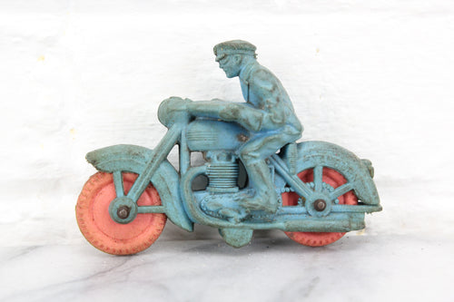Auburn Brand A520 Rubber Police Motorcycle, Blue with Orange Wheels