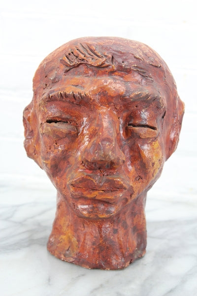 Hand Carved Bust Sculpture by BER, Dated 1965