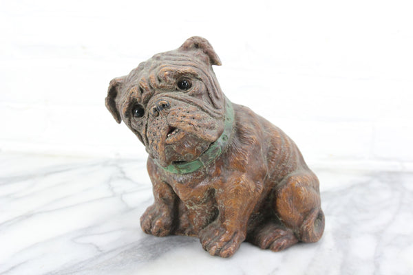 Carved Wood Bull Dog Statue