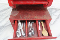 Handmade Wooden Doll's Cabinet with Silverware in Drawer