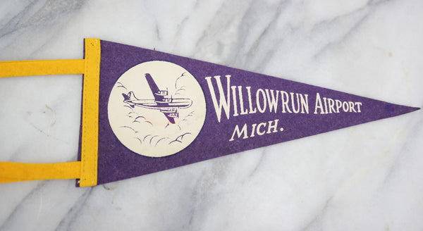 Willowrun Airport, Michigan Souvenir Pennant - 12""