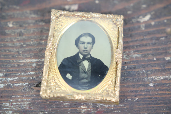 Ambrotype Photograph of a Young Man in Bowtie