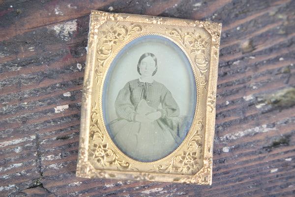 Daguerreotype Photograph of a Young Woman with Braided Hair