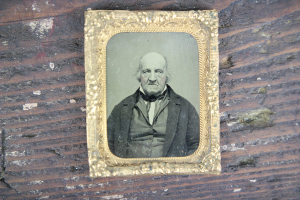 Framed Tintype Photograph of a Balding Old Man That Wants You to Get Off His Lawn
