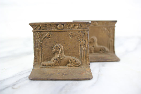 Egyptian Revival Sphinx Cast Iron Bookends, Pair