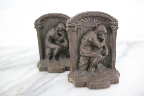 "Auguste Rodin's ""The Thinker"" Cast Iron Bookends, Pair"