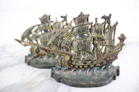 Handpainted Cast Iron Ship Bookends, Pair