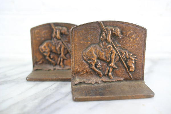 "James Earle Fraser's ""End of the Trail"" Cast Iron Native American Indian Bookends, Pair"