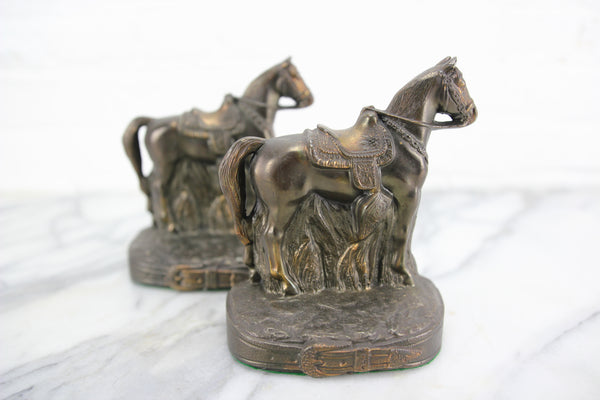 Bronzed Metal Standing Saddled Horse Bookends, Pair