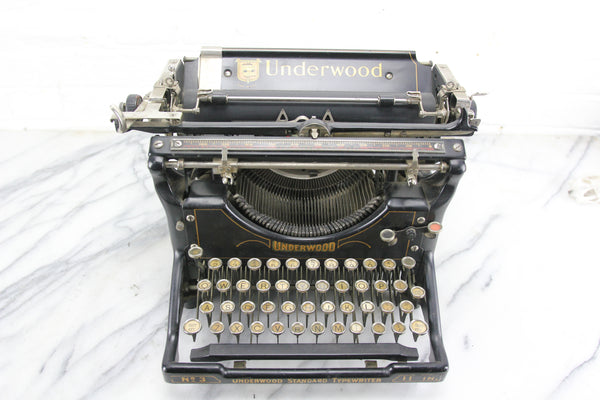Underwood Standard Typewriter No. 3, 11-Inch Model, Made in USA, 1926