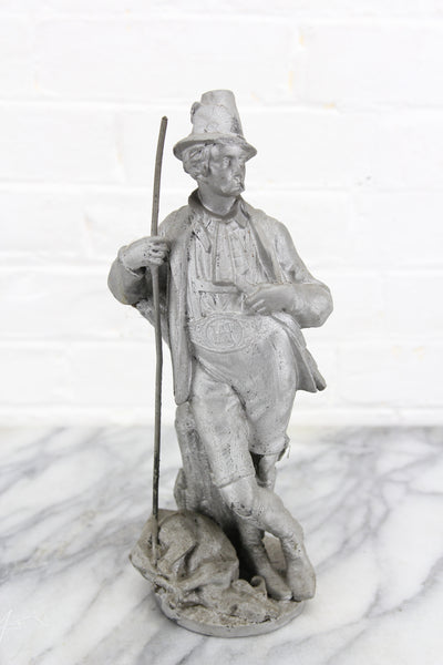 Heavy Cast Metal Figural Clock Topper of a Hunter with His Kill
