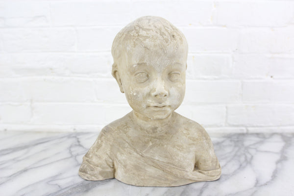 White Plaster Bust of a Young Boy