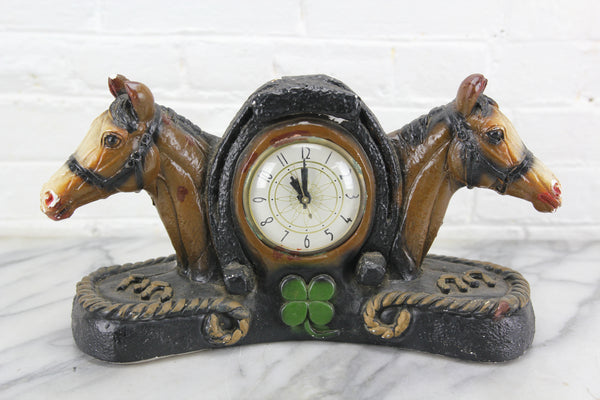 Good Luck Horseshoe Shamrock and Horses Chalkware Clock, Lanshire