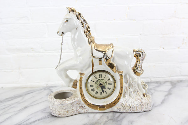 White Porcelain Galloping Horse Clock and TV Lamp, Lanshire
