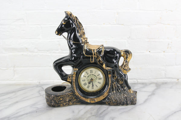 Black Porcelain Galloping Horse Clock and TV Lamp, Lanshire