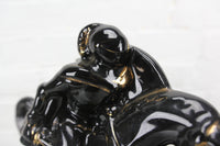 Black Porcelain Charging Knight on Horse Clock, Sessions